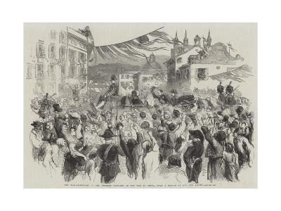 The War, Reception of the Emperor Napoleon in the City of Genoa--Giclee Print
