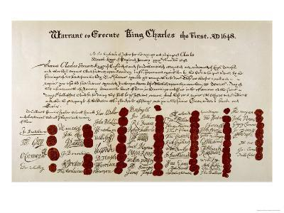 The Warrant for the Execution of Charles I--Giclee Print