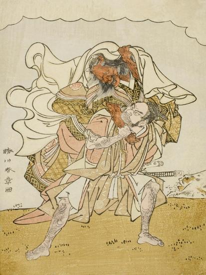 The Warrior Omori Hikoshichi Carrying a Female Demon on His Back, C.1772-Katsukawa Shunsho-Giclee Print