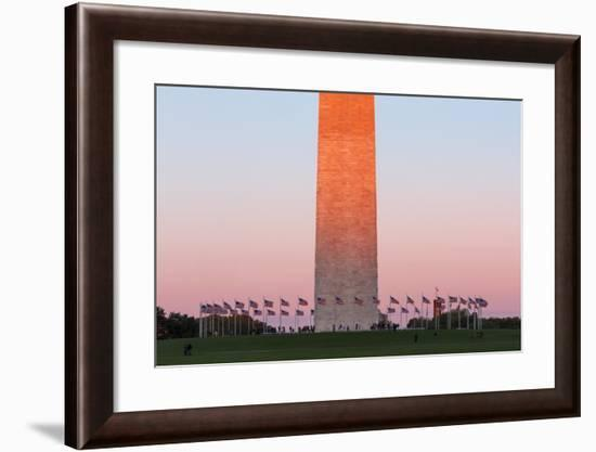 The Washington Monument at Sunset, Washington Dc.-Jon Hicks-Framed Photographic Print
