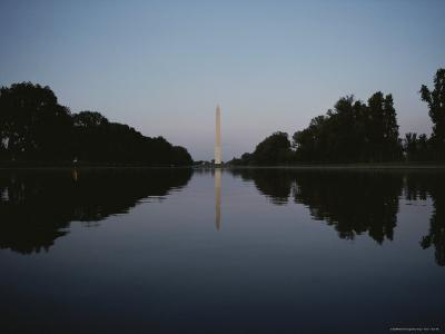 The Washington Monument Reflected at Eye-Level in the Reflecting Pool--Photographic Print