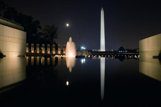 The Washington Monument Reflected in the World War II Memorial Pool-Vickie Lewis-Photographic Print