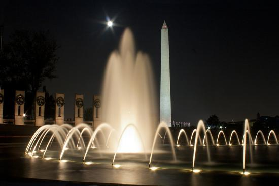 The Washington Monument Reflecting Off the Pool of the National World War Ii Memorial-Vickie Lewis-Photographic Print