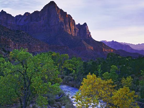 The Watchman Peak and the Virgin River, Zion National Park, Utah, USA-Dennis Flaherty-Photographic Print