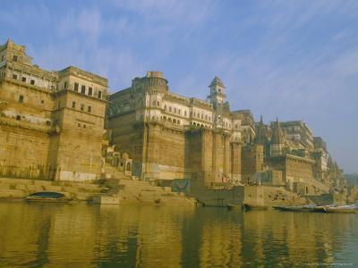 The Waterfront at Varanasi, Previously Known as Benares, on the Ganges River, Uttar Pradesh, India-John Henry Claude Wilson-Photographic Print