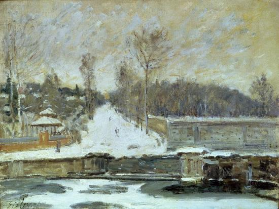 The Watering Place at Marly-Le-Roi, 1875-Alfred Sisley-Giclee Print