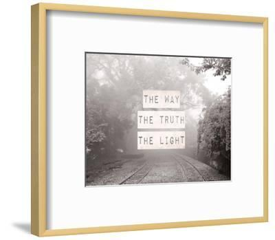 The Way The Truth The Light Railroad Tracks Black and White-Inspire Me-Framed Art Print