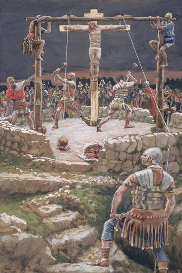 The Wedging of the Cross for 'The Life of Christ', C.1886-94 (W/C and Gouache on Paperboard)-James Jacques Joseph Tissot-Giclee Print