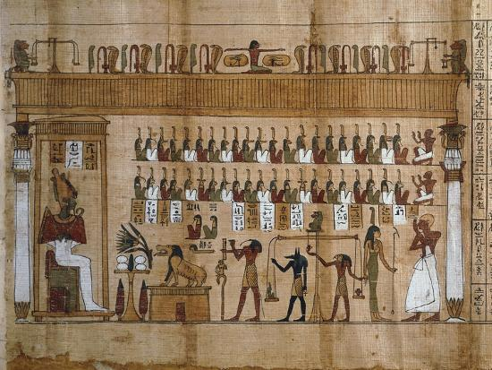 The Weighing of Souls, Chapter 125 of Book of Dead, Detail of Papyrus of Tasnakht--Giclee Print