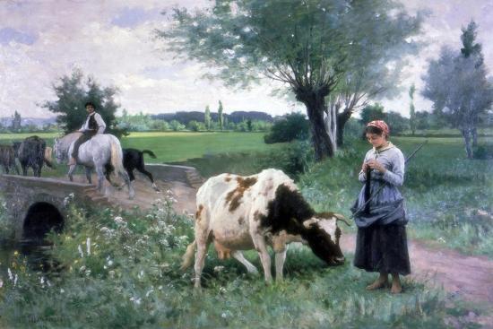 The Well Guarded Cow, 1890-Edouard Bernard Debat-Ponsan-Giclee Print