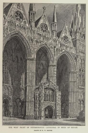The West Front of Peterborough Cathedral in Need of Repair-Henry William Brewer-Giclee Print