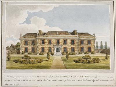 The West Front of Shrewsbury House, Isleworth, Middlesex, C1800--Giclee Print