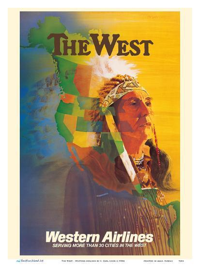 The West - Native American Indian Chief - Western Airlines-E^ Carl Leick-Art Print