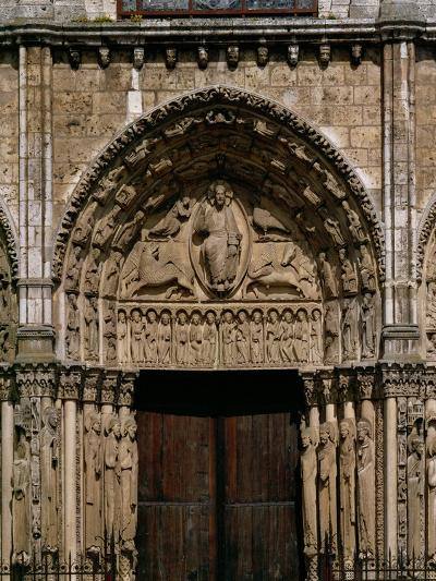 The West or Royal Portal, Center: Christ on the Book of Revelation, and Four Beasts, Around 1145--Giclee Print