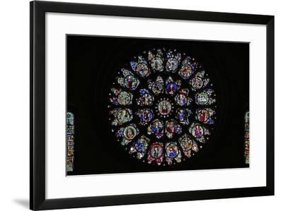 The West Rose Window with Fragmentary Fifteenth and Sixteenth Panels Mostly Depicting Saints--Framed Photographic Print