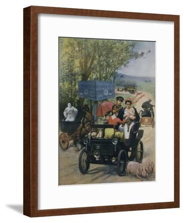 The Wet Nurse, 1900 Poster by Wilhio of Paris for De Dion Bouton Automobiles