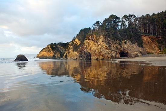 The Wet Sand on a Beach at Oregon's Hug Point-Vickie Lewis-Photographic Print