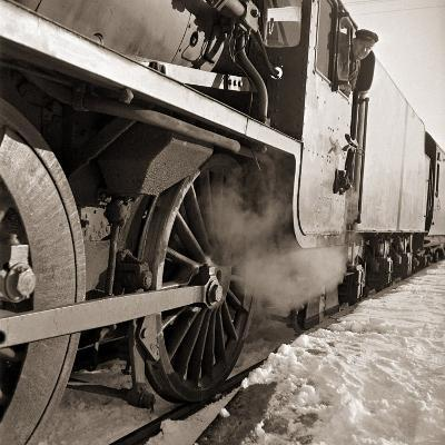 The Wheels of a Steam Train as It Travels from Perth Northwards to the Forres in Morayshire--Photographic Print