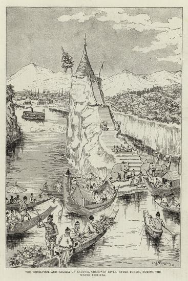 The Whirlpool and Pagoda of Kalewa, Chindwin River, Upper Burma, During the Water Festival--Giclee Print