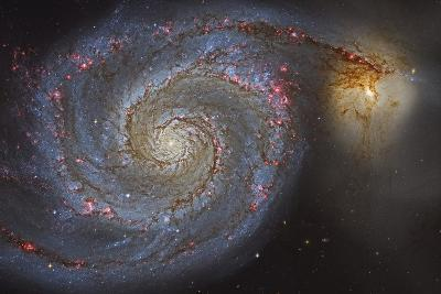 The Whirlpool Galaxy and its Companion Galaxy--Photographic Print