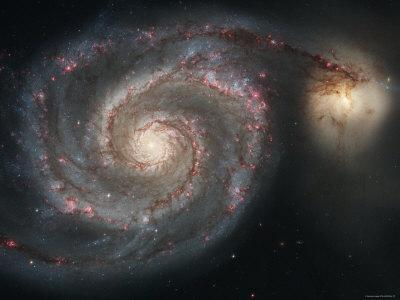 The Whirlpool Galaxy (M51) and Companion Galaxy-Stocktrek Images-Photographic Print
