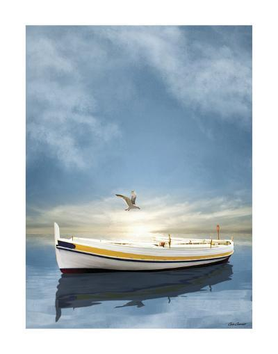 The White Boat in Sunset-Carlos Casamayor-Art Print