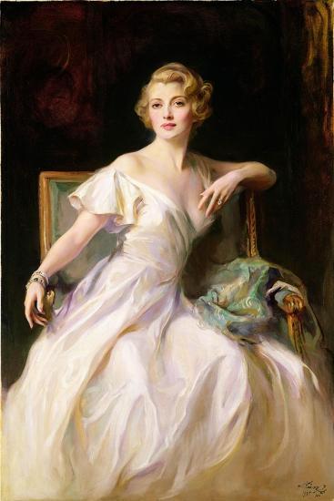 The White Dress - a Portrait of Joan Clarkson, 1935-Philip Alexius De Laszlo-Giclee Print