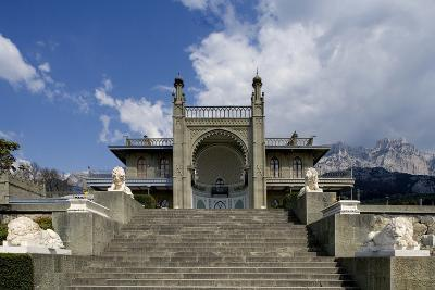 The White Marble Staircase and Lions from the Neo-Moorish Style Southern Facade of Vorontsov Palace--Photographic Print