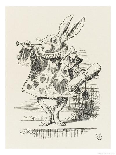 The White Rabbit in Herald's Costume-John Tenniel-Giclee Print