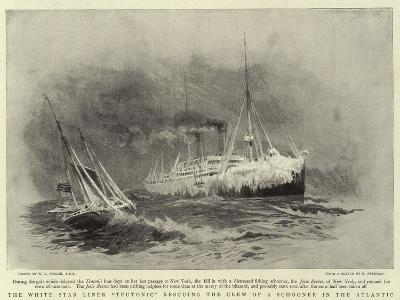 The White Star Liner Teutonic Rescuing the Crew of a Schooner in the Atlantic-William Lionel Wyllie-Giclee Print