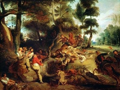 The Wild Boar Hunt, after a Painting by Rubens, circa 1840-50-Eugene Delacroix-Giclee Print