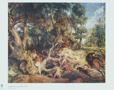 The Wild Boar Hunt-Peter Paul Rubens-Collectable Print