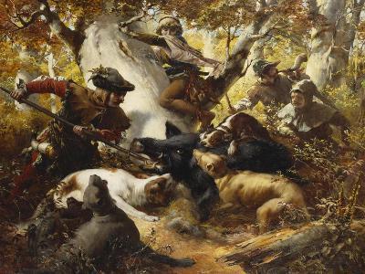 The Wild Boar Hunt-Ferdinand Wagner-Giclee Print