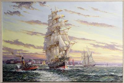"""The Windsor Park"" Leaving the Thames-John Sutton-Giclee Print"