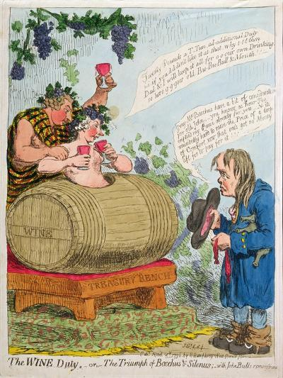 The Wine Duty, or the Triumph of Bacchus and Silenus with John Bull's Remonstrance, Published by…-James Gillray-Giclee Print
