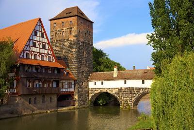 The Wine Store and Hangman's Bridge on the Pegnitz River, Nuremberg, Bavaria, Germany, Europe-Neil Farrin-Photographic Print