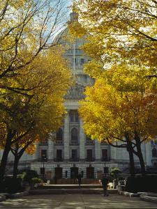 The Wisconsin State Capitol Surrounded by Lush Amber Fall Foliage
