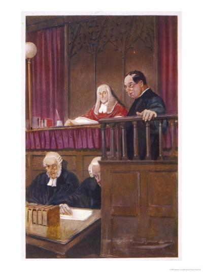 The Wisdom of Father Brown, the Priestly Detective Gives Evidence in Court-Seymour Lucas-Giclee Print