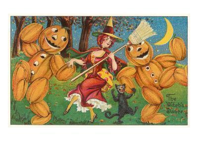 The Witch's Dance, Jack O'Lanterns, Cat--Art Print