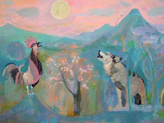 The Wolf and the Rooster Sing by Moonlight-Iria Fernandez Alvarez-Art Print