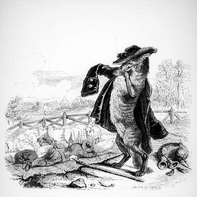 The Wolf Turned Shepherd, Illustration for 'Fables' of La Fontaine (1621-95), Published by H.…-J^J^ Grandville-Giclee Print