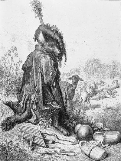 The Wolf Turned Shepherd, Illustration from 'Fables' by La Fontaine, 1868-Gustave Dor?-Giclee Print