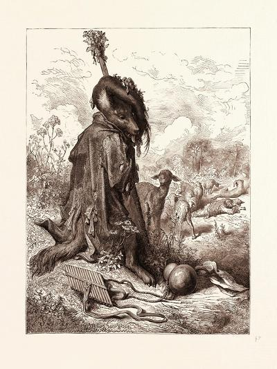 The Wolf Turned Shepherd-Gustave Dore-Giclee Print
