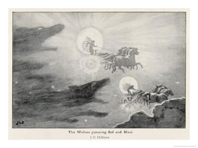The Wolves Skoll (Repulsion) and Hati (Hate) Pursue Sol (Sun) and Mani (Moon) Across the Skies-J^c^ Dollman-Giclee Print