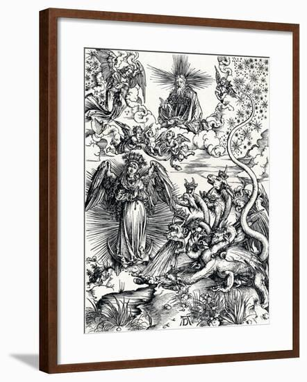 The Woman Clothed with the Sun and the Seven-Headed Dragon, 1498-Albrecht Dürer-Framed Giclee Print