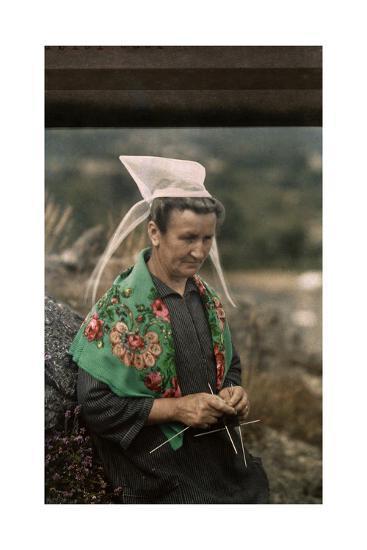 The Woman Guardian of the Tour De Kerroch Knits-Gervais Courtellemont-Photographic Print