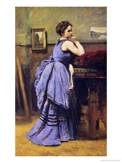 The Woman in Blue, 1874-Jean-Baptiste-Camille Corot-Giclee Print