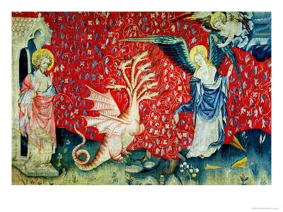 """The Woman Receiving Wings to Flee the Dragon, No.37 from """"The Apocalypse of Angers,"""" 1373-87-Nicolas Bataille-Giclee Print"""