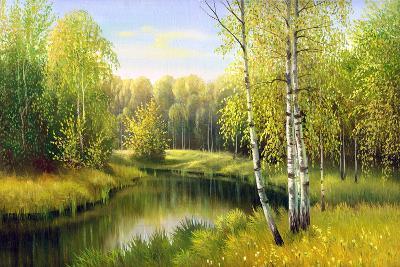 The Wood River In Autumn Day-balaikin2009-Art Print