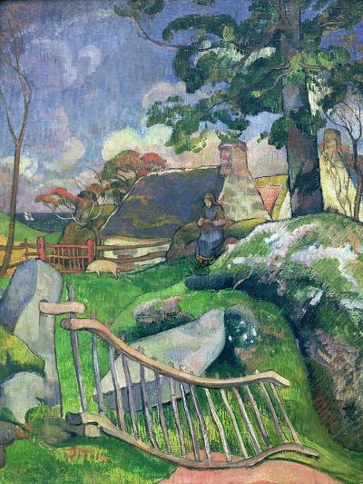 The Wooden Gate Or, the Pig Keeper, 1889-Paul Gauguin-Giclee Print